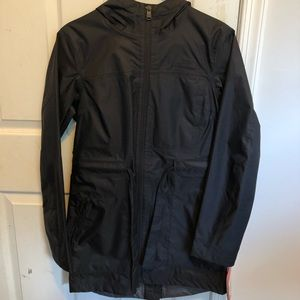 Black northface rain jacket